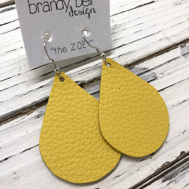 ZOEY (3 sizes available!) - Leather Earrings  ||  MATTE YELLOW