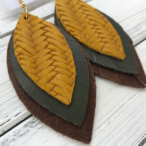 GINGER - Leather Earrings  ||  <BR>  MUSTARD BRAIDED WEAVE, <BR> MATTE OLIVE GREEN, <BR>  DISTRESSED BROWN