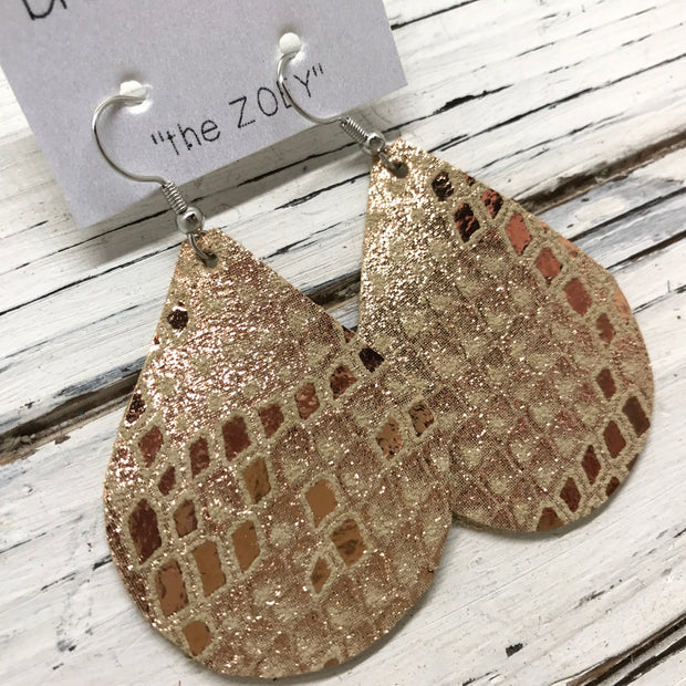 ZOEY (3 sizes available!) - Leather Earrings  ||  METALLIC COPPER/ROSE GOLD ON IVORY MYSTIC
