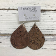 ZOEY (3 sizes available!) - Leather Earrings  ||  METALLIC CRACKLE COPPER ON BLACK