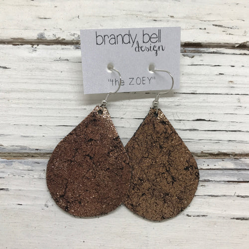 ZOEY - Leather Earrings  ||  METALLIC CRACKLE COPPER ON BLACK