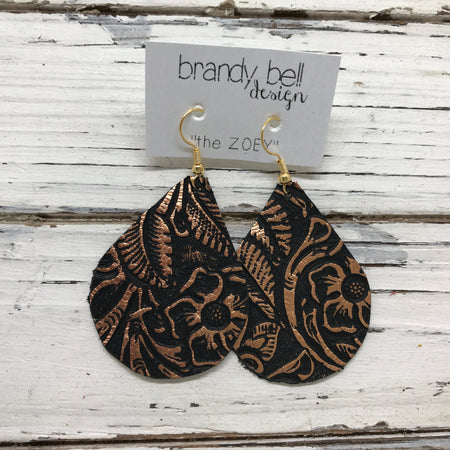 miniZOEY + ZOEY - Leather Earrings  ||  BLACK WITH METALLIC ROSE GOLD / COPPER FLORAL