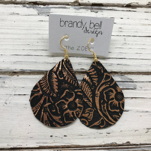 ZOEY - Leather Earrings  ||  BLACK WITH METALLIC ROSE GOLD / COPPER FLORAL
