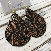 ZOEY (3 sizes available!) - Leather Earrings  ||  BLACK WITH METALLIC ROSE GOLD / COPPER FLORAL