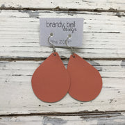 ZOEY (3 sizes available!) - Leather Earrings  ||  MATTE CORAL