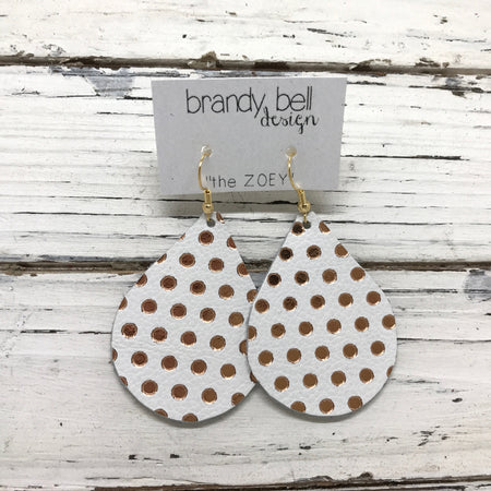 miniZOEY + ZOEY - Leather Earrings  ||  MATTE WHITE WITH METALLIC ROSE GOLD POLKA DOTS