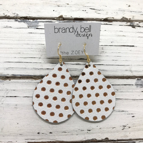 ZOEY - Leather Earrings  ||  MATTE WHITE WITH METALLIC ROSE GOLD POLKA DOTS