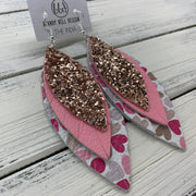 INDIA - Leather Earrings   ||  <BR>  ROSE GOLD GLITTER (FAUX LEATHER),  <BR> MATTE LIGHT PINK <BR> MULTICOLOR HEARTS ON WHITE