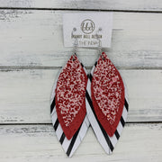 INDIA - Leather Earrings   ||  <BR>  RED & PINK GLITTER (FAUX LEATHER),  <BR> RED PANAMA WEAVE, <BR> BLACK & WHITE STRIPE