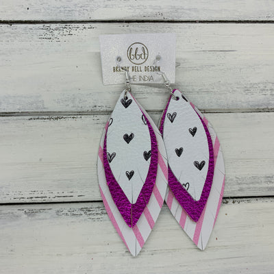 INDIA - Leather Earrings   ||  <BR>  BLACK & WHITE DRAWN HEARTS,  <BR> METALLIC NEON PINK, <BR> PINK & WHITE STRIPES