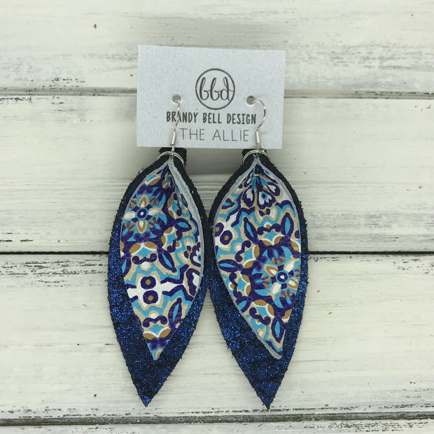 ALLIE -  Leather Earrings  ||  <BR> MOROCCAN TILE , <BR> SHIMMER BLUE