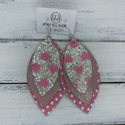 GINGER - Leather Earrings  ||  WHITE & PINK GLITTER HEARTS, <BR> PINK & SILVER DISTRESSED, <BR> PINK & WHITE POLKADOTS
