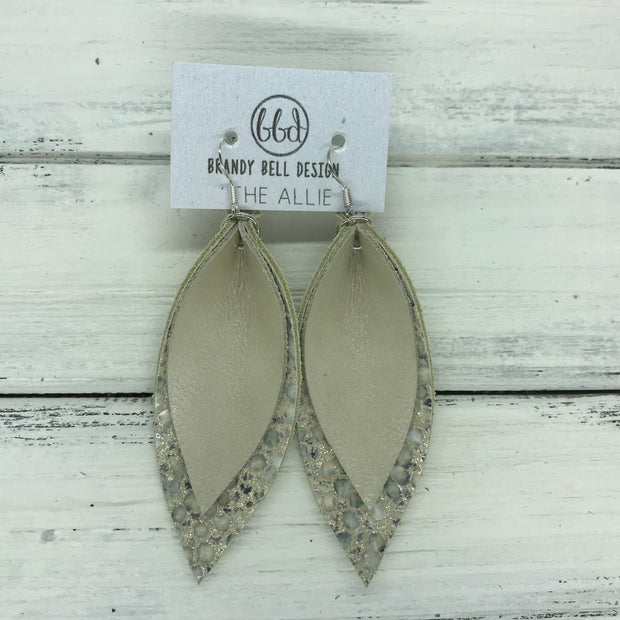 ALLIE -  Leather Earrings  ||  <BR> CHAMPAGNE PEARL, <BR>  IVORY STINGRAY