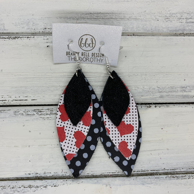 DOROTHY - Leather Earrings  ||  <BR> SHIMMER BLACK, <BR> HEARTS WITH POLKADOTS, <BR> BLACK WITH WHITE POLKADOTS
