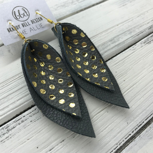 ALLIE -  Leather Earrings  ||  <BR> GRAY WITH METALLIC GOLD POLKADOTS, <BR> MATTE DARK GRAY