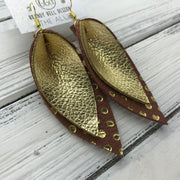 ALLIE -  Leather Earrings  ||  <BR> METALLIC GOLD PEBBLED, <BR> BROWN WITH METALLIC GOLD POLKADOTS
