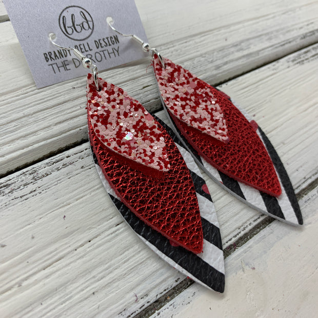 DOROTHY - Leather Earrings  ||  <BR> PINK & RED GLITTER (FAUX LEATHER), <BR> METALLIC RED PEBBLED, <BR> BLACK & WHITE STRIPES WITH HEARTS