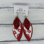 DOROTHY - Leather Earrings  ||  <BR> RED GLITTER (FAUX LEATHER), <BR> RED LIPS ON WHITE (FAUX LEATHER), <BR> MATTE RED