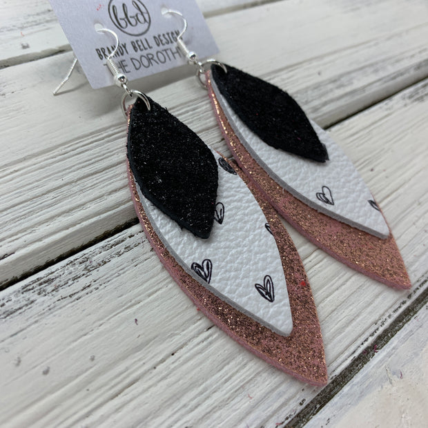 DOROTHY - Leather Earrings  ||  <BR> SHIMMER BLACK, <BR> BLACK DRAWN HEARTS, <BR> SHIMMER VINTAGE PINK