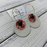 TRIXIE - Leather Earrings  ||    <BR> GOLD TRIANGLE, <BR> PINK & RED GLITTER (FAUX LEATHER),  <BR> PEARL WHITE