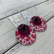 TRIXIE - Leather Earrings  ||    <BR> SILVER TRIANGLE, <BR> MATTE RASPBERRY,  <BR>  PINK HEARTS