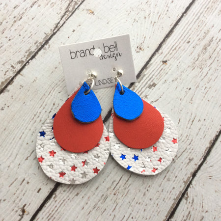 LINDSEY - Leather Earrings  || METALLIC ELECTRIC BLUE, MATTE RED, WHITE WITH METALLIC STARS
