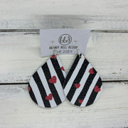 ZOEY (3 sizes available!) - Leather Earrings   ||  BLACK & WHITE STRIPES WITH HEARTS