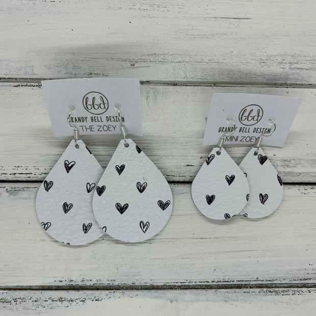 ZOEY (3 sizes available!) - Leather Earrings   ||  BLACK DRAWN HEARTS ON WHITE