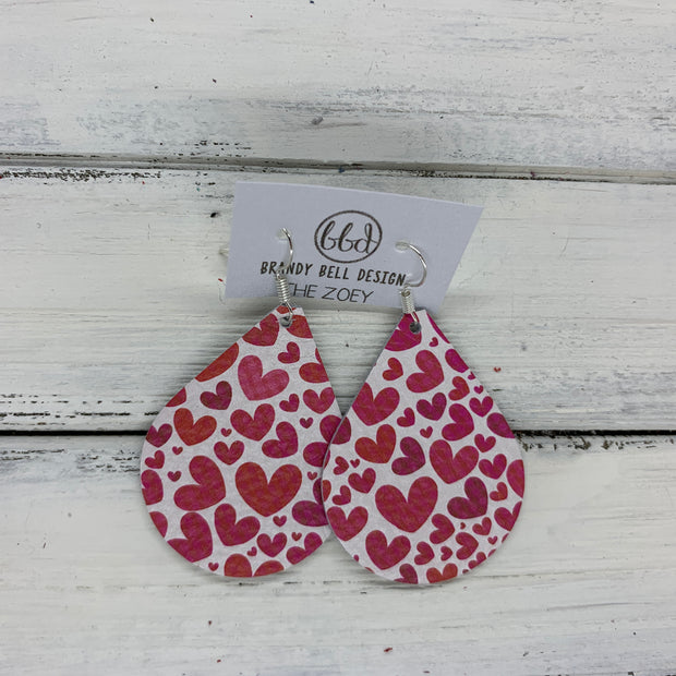 ZOEY (3 sizes available!) - Leather Earrings   ||  PINK HEARTS