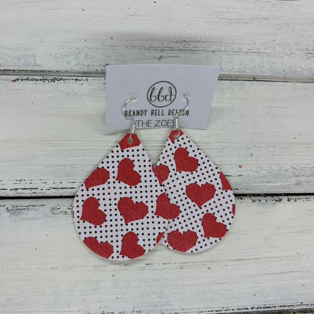 ZOEY (3 sizes available!) - Leather Earrings   ||  RED HEARTS ON POLKADOTS