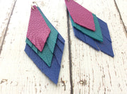 COLLEEN -  Leather Earrings  || MATTE FUCHSIA, MATTE DARK TEAL, MATTE COBALT BLUE