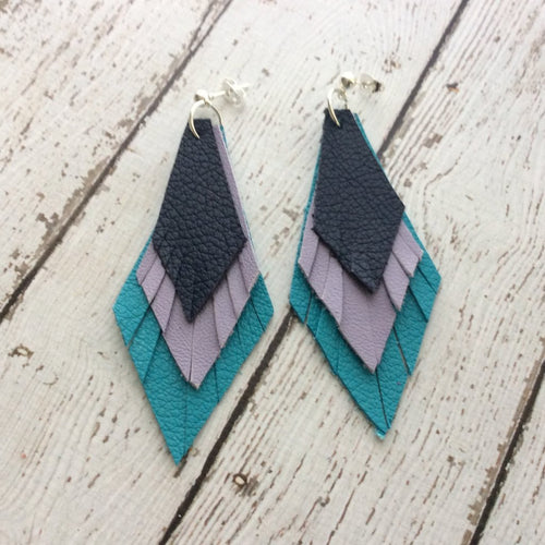 COLLEEN -  Leather Earrings || MATTE NAVY BLUE, MATTE LAVENDER, MATTE TURQUOISE
