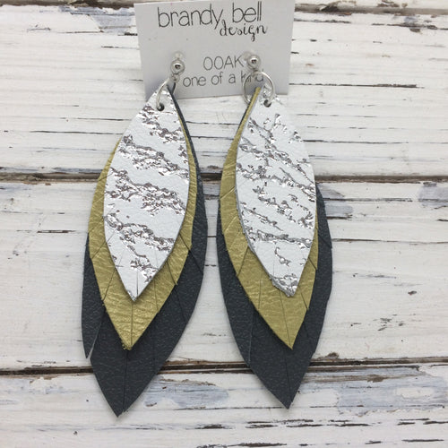 INDIA - Leather Earrings  || OOAK(One of a Kind)  WHITE WITH METALLIC SILVER ACCENT, PERALIZED OCHRE, MATTE DARK GRAY