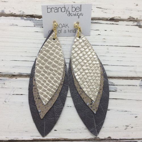 INDIA - Leather Earrings  || OOAK(One of a Kind)  METALLIC CHAMPAGNE COBRA, IVORY STINGRAY, PEARLIZED GRAY