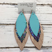 INDIA - Leather Earrings  ||  MATTE ROBINS EGG BLUE,  METALLIC MERMAID IN ANTIQUE BLUE/GREEN/PINK, METALLIC TEXTURE ROSE GOLD
