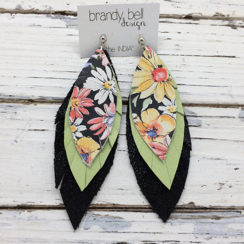 INDIA - Leather Earrings  ||  FLORAL WITH BLACK BACKGROUND, MATTE SPRING GREEN, SHIMMER BLACK