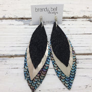 INDIA - Leather Earrings  ||  SHIMMER BLACK, METALLIC CHAMPAGNE, METALLIC MERMAID IN ANTIQUE BLUE/GREEN/PINK