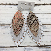 GINGER - Leather Earrings  ||  METALLIC ROSE GOLD DRIPS, SHIMMER ROSE GOLD, MATTE WHITE WITH METALLIC ROSE GOLD POLKADOTS