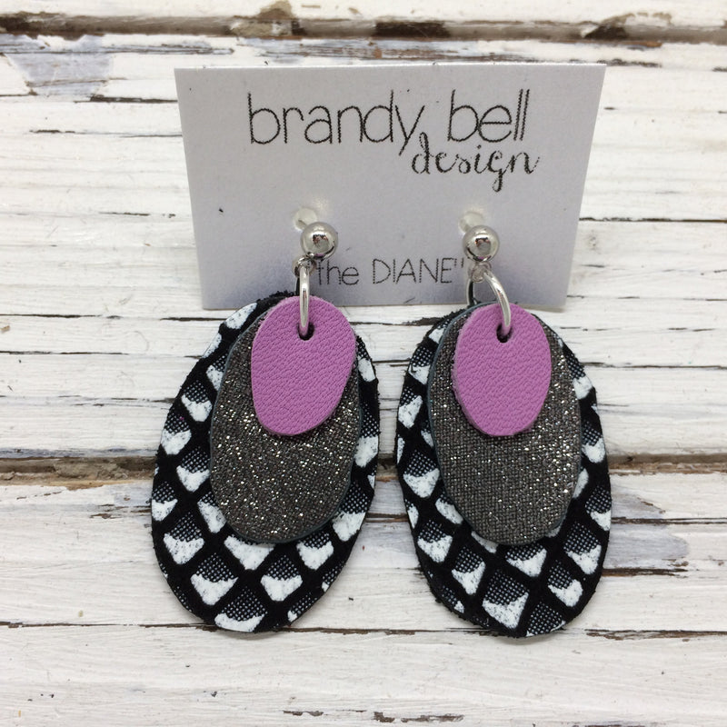 DIANE - Leather Earrings  ||   MATTE ORCHID, SHIMMER PEWTER, BLACK & WHITE MERMAID