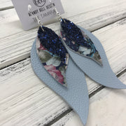TAMARA - Leather Earrings  ||  <BR> NAVY BLUE GLITTER (not real leather) <BR> VINTAGE FLORAL <BR> MATTE LIGHT BLUE