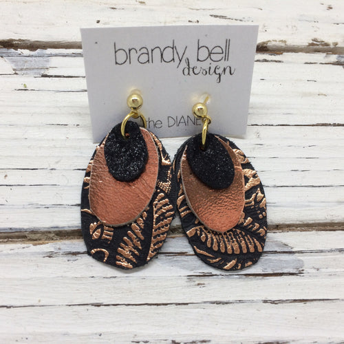 DIANE - Leather Earrings  ||  SHIMMER BLACK, METTALIC COPPER, BLACK WITH METALLIC COPPER FLORAL