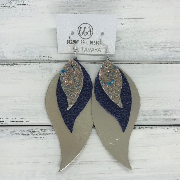 TAMARA - Leather Earrings  ||  <BR> GLAMOUR GLITTER (not real leather), <BR> METALLIC NAVY PEBBLED, <BR>  METALLIC CHAMPAGNE SMOOTH