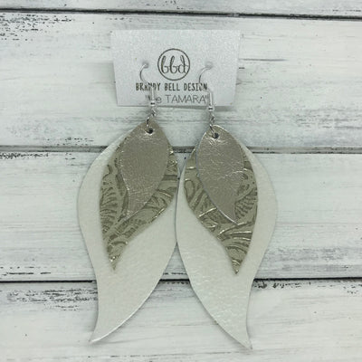 TAMARA - Leather Earrings  ||  <BR> METALLIC CHAMPAGNE SMOOTH, <BR> METALLIC IVORY WESTERN FLORAL, <BR>  PEARL WHITE