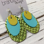 DIANE - Leather Earrings  ||  MATTE BRIGHT YELLOW, MATTE ROBINS EGG BLUE, METALLIC LIME GREEN COBRA
