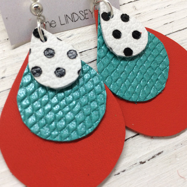 LINDSEY - Leather Earrings  ||  WHITE WITH BLACK POLKADOTS, PEARLIZED AQUA COBRA, MATTE BRIGHT RED