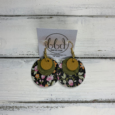 GRAY - Leather Earrings  ||    <BR> MATTE MUSTARD, <BR>OLIVE WESTERN FLORAL,  <BR> MINI PINK FLORAL ON BLACK