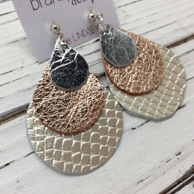 LINDSEY - Leather Earrings  ||  METALLIC SILVER, METALLIC ROSE GOLD TEXTURE, METALLIC CHAMPAGNE COBRA