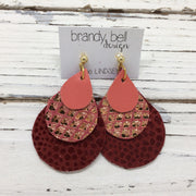 LINDSEY - Leather Earrings  ||  MATTE SALMON, METALLIC ROSE GOLD MERMAID ON ROSE, DARK RED WITH GLOSSY DOTS