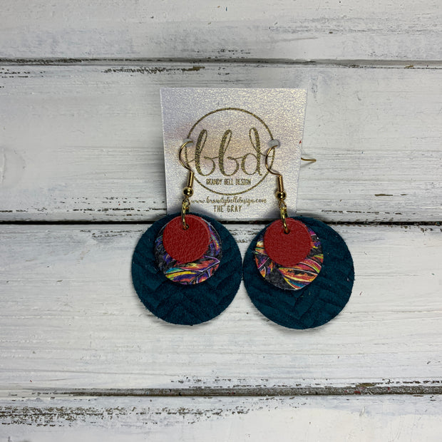 GRAY - Leather Earrings  ||    <BR> MATTE RED, <BR> MULTICOLOR PALM LEAVES,  <BR> DARK TEAL BRAID