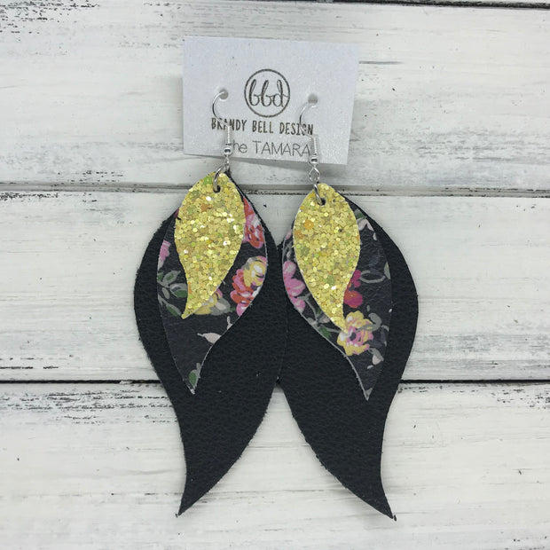 TAMARA - Leather Earrings  ||  <BR> YELLOW GLITTER (not real leather), <BR> PINK FLORAL ON BLACK, <BR> MATTE BLACK